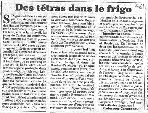 Article du Canard Enchaîné - 26 Juin 2013 - Des tétras dans le frigo
